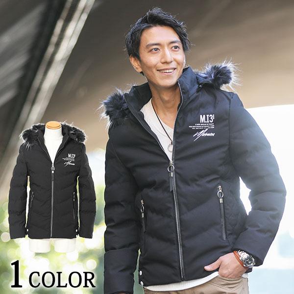 裏起毛ファーフードデザイン中綿ジャケット