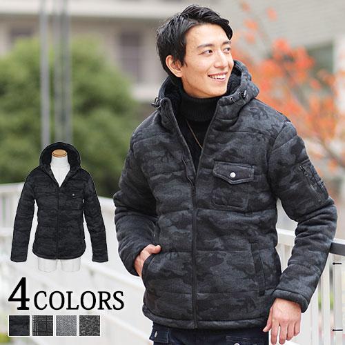 最新アイテム 抜群の男らしさと暖かさで大人カッコいい雰囲気に ニットフリース素材裏ボア中綿ジャケット メーカー在庫限り品