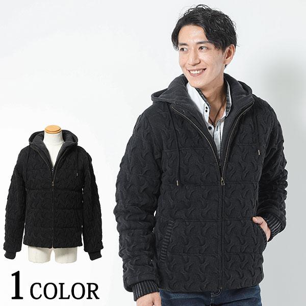 送料無料 ウェーブ編みフェイクレイヤード中綿ジャケット