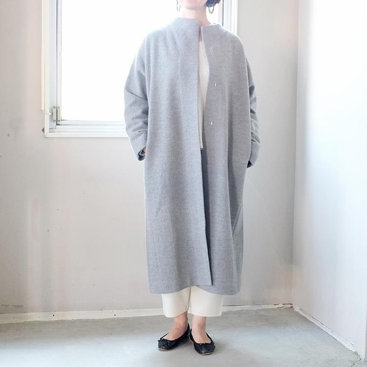 送料無料 evam eva エヴァムエヴァ press wool long coat プレスウールロングコート E191K044 エバムエバ レディース 冬 毛 圧縮ウール ノーカラー 大人 ゆったり軽い ナチュラル シンプル グレー