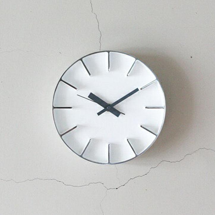 【 送料無料 】 【Lemnos レムノス】edge clock エッジクロック Sサイズ ホワイト【AZ-0116 WH/AZUMI/掛け時計/ウォールクロック/デザイナーズクロック/アルミニウム/鋳物】