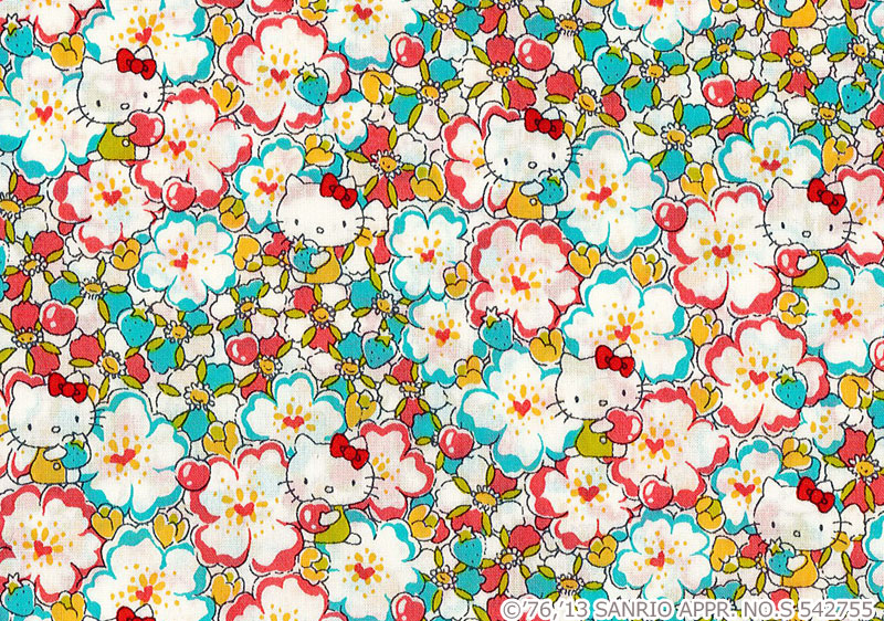 你好凯蒂自由艺术织物上赛季 (最好) x ~ < 花的心 > 花 dc27729 j13c