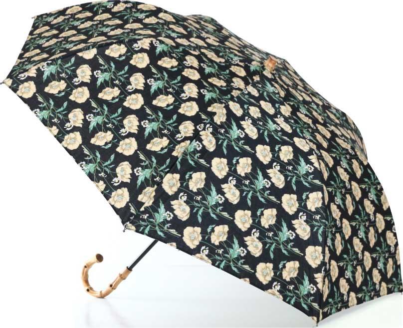 LIBERTYリバティプリントを使った晴雨兼用折り畳み傘パラソル(日傘)<Poire>(ポワレ)BKブラック 957681