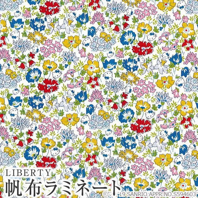 It is CANLAMI-DC29967-J19A LIBERTY Liberty print Hello Kitty X liberty art  fabric 11 canvas mat laminating (plastic coating cloth) (スプリングメドウ)