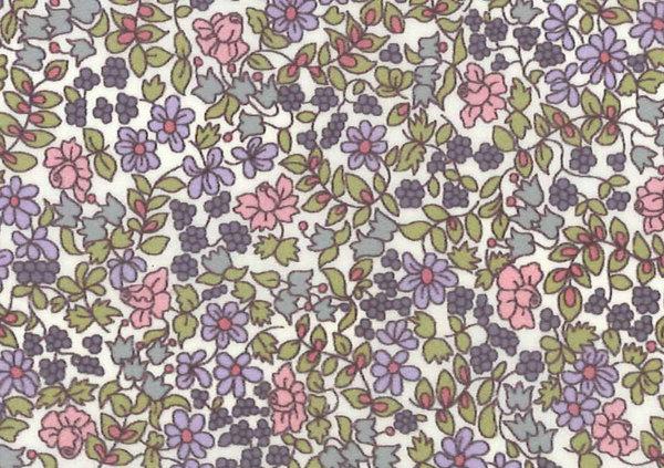 LIBERTY自由印刷、國產尼龍塔夫綢布料(etanaru)<Emilia's Flowers>(emiriasufurawazu)3630184-LDN自由布料