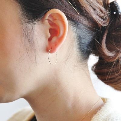 c3f69c3c30616 K18 gold wire hoop earrings 20 mm small dainty delicate fine simple 18 K 18  k pink gold white gold PG WG 2 cm Lady ladies (duplex hoop earrings)