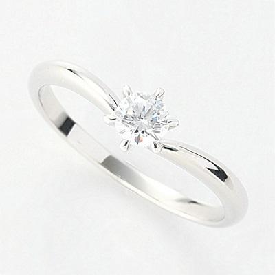 オーダーメイドジュエリー エンゲージリング Pt900/プラチナ 1粒ダイヤモンド VS-2/D~Fカラー(D/0.2ct)6本爪 V字 リング 指輪 婚約 結婚 マリッジ
