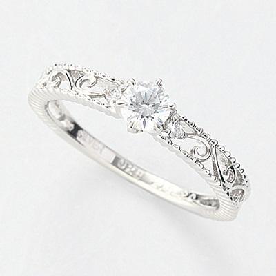 オーダーメイドジュエリー エンゲージリング Pt900/プラチナ 1粒ダイヤモンド VS-2/D~Fカラー(D/0.2ct)透かし模様 リング 指輪 婚約 結婚 マリッジ