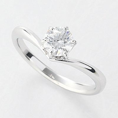 オーダーメイドジュエリー エンゲージリング Pt900/プラチナ 1粒 ダイヤモンド VS-2/D~Fカラー(D/0.5ct) V字 リング 指輪 婚約 結婚 マリッジ