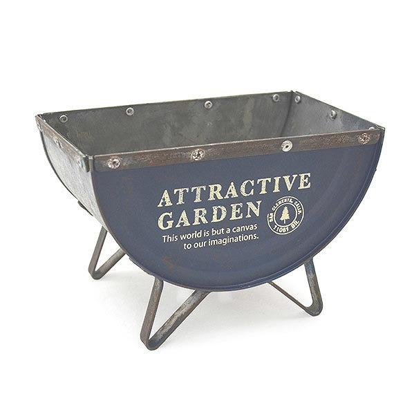 プランター 鉢 エクステリア ガーデニング 庭 即出荷 セミサークルプランター azi-azi AZ-1348 ブルー 超安い プランターボックス アジアジ アンティーク風
