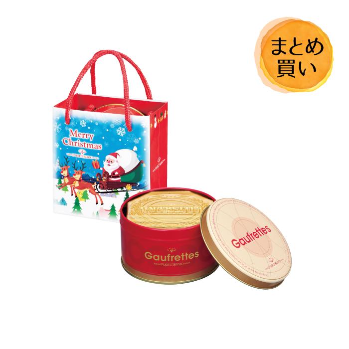 【まとめて24個(24入×1カートン)】東京風月堂クリスマス袋付ゴーフレットミニ缶(6枚入) お返し 新生活