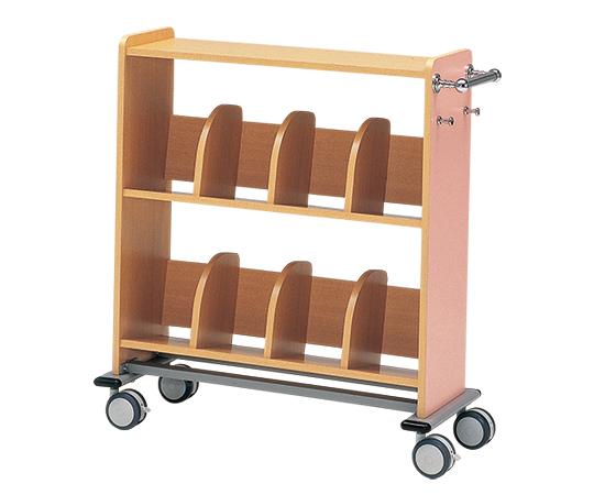 木製カルテワゴン 958x400x1050mm ピンク WOOD-P60 1台 【大型商品】【同梱不可】【代引不可】【キャンセル・返品不可】