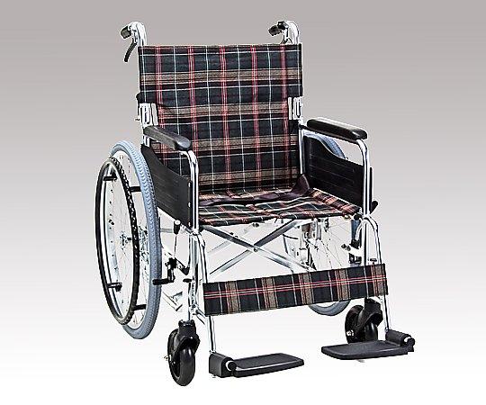 車椅子 (自走式/アルミ製/背折れタイプ/ネイビーチェック) KS50-4643NC 1台 【大型商品】【同梱不可】【代引不可】【キャンセル・返品不可】