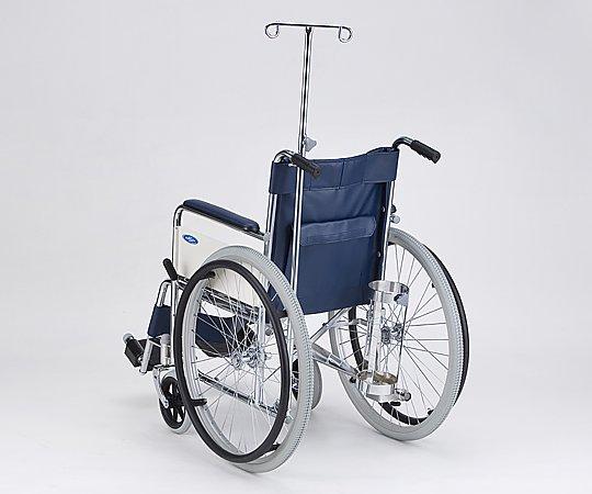 車椅子 (自走式/スチール製/ノーパンクタイヤ/ボンベ架・伸縮式ガードル棒付き) AND-1H-BSG 1台 【大型商品】【同梱不可】【代引不可】【キャンセル・返品不可】