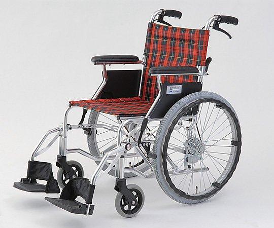 自走介助式車椅子 (自走式/アルミ製/背折れタイプ/チェックレッド) HTB-20D-CR 1台 【大型商品】【同梱不可】【代引不可】【キャンセル・返品不可】