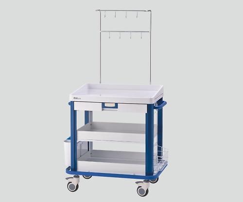 IVカート(点滴処置車) ブルー YC-32-S-00032 1個 【大型商品】【同梱不可】【代引不可】【キャンセル・返品不可】