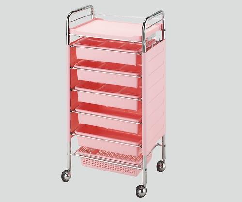 仕切り付収納ワゴン(C265) ピンク 1個【条件付返品可】