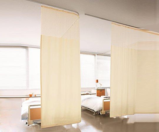 ホスピタルカーテン ネット付き 5000x2300mm ピンク E-7008 E-5023 1枚【条件付返品可】