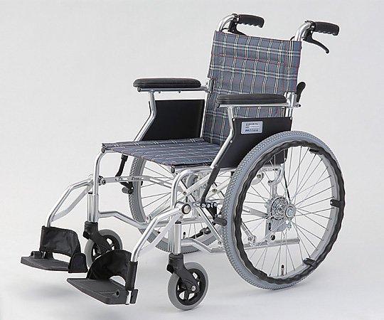 自走介助式車椅子 (自走式/アルミ製/背折れタイプ/チェックブルー) HTB-20D-CB 1台 【大型商品】【同梱不可】【代引不可】【キャンセル・返品不可】