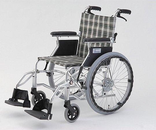 自走介助式車椅子 (自走式/アルミ製/背折れタイプ/チェックグリーン) HTB-20D-CG 1台 【大型商品】【同梱不可】【代引不可】【キャンセル・返品不可】