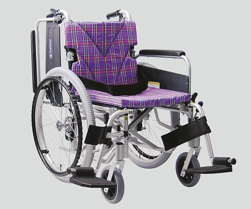 車椅子(アルミ製) スイングアウト・イン 紫チェック NKA822-40B-M A11 1個 【大型商品】【同梱不可】【代引不可】【キャンセル・返品不可】