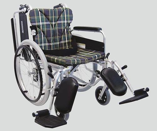 車椅子(アルミ製) エレベーティング 緑チェック NKA822-40ELB-M A9 1個 【大型商品】【同梱不可】【代引不可】【キャンセル・返品不可】