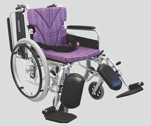 車椅子(アルミ製) エレベーティング 紫チェック NKA822-40ELB-M A11 1個 【大型商品】【同梱不可】【代引不可】【キャンセル・返品不可】