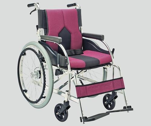 車椅子(アルミ製・背折れタイプ) パープル KC-1PU 1個 【大型商品】【同梱不可】【代引不可】【キャンセル・返品不可】
