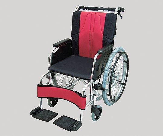 車椅子 (自走式/アルミ製/赤黒) 0101-LA2000 1台 【大型商品】【同梱不可】【代引不可】【キャンセル・返品不可】