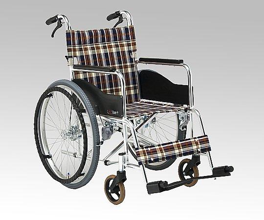 車いす (自走式/アルミ製/背折れタイプ/緑チェック) AR-201B-40S2 1台 【大型商品】【同梱不可】【代引不可】【キャンセル・返品不可】