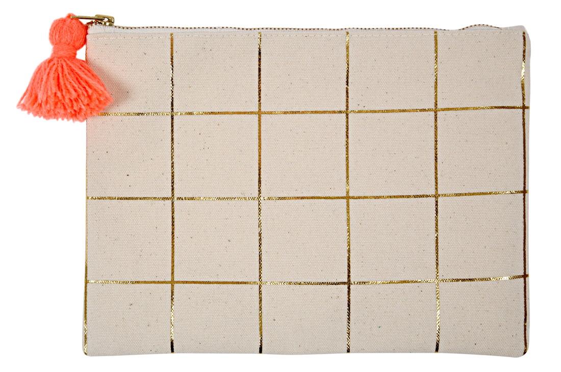 merimeriパーティ-グッズ おしゃれでかわいいポーチ 国内送料無料 Meri メリメリ ポーチ ゴールドチェック 約23.3x17.5x1.5cm キャンバス地 158806 50-0183 大人 かわいい 子供 女の子 訳あり おしゃれ インスタ映え 中学生 小学生 バッグ