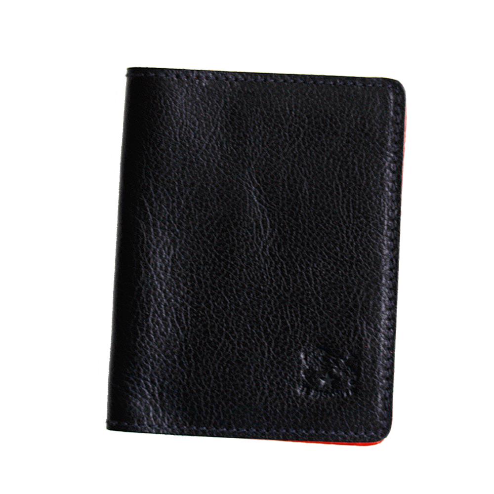 イルビゾンテ 二つ折り パスケース カードケース 定期入れ IICカードケース 本革 ブラック/レッド