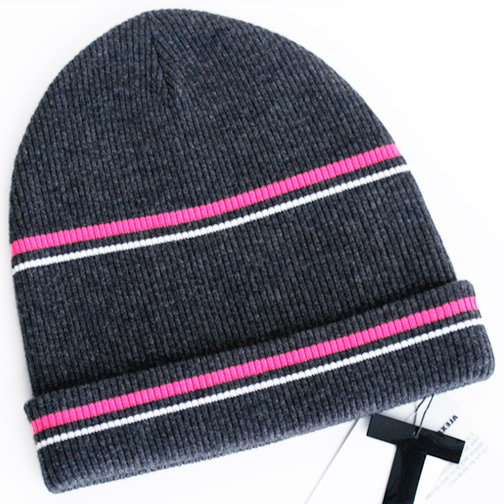 Tby Alexander Wang Tbyアレキサンダーワン ボーダー ニット帽 チャコールグレー/ネオンピンク系 Merion Blend Rib Knit Beanie With Stripe Details