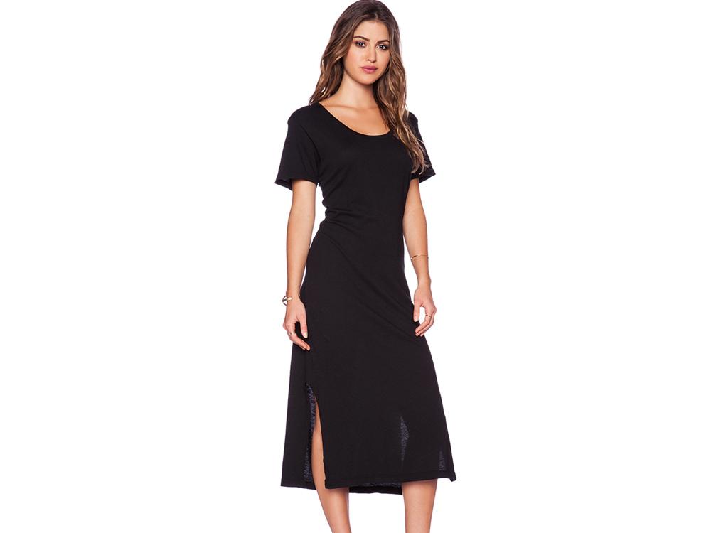 LNA エルエヌエーT-shirt Midi Dress Tシャツワンピ 両サイドスリット(半袖) ブラック
