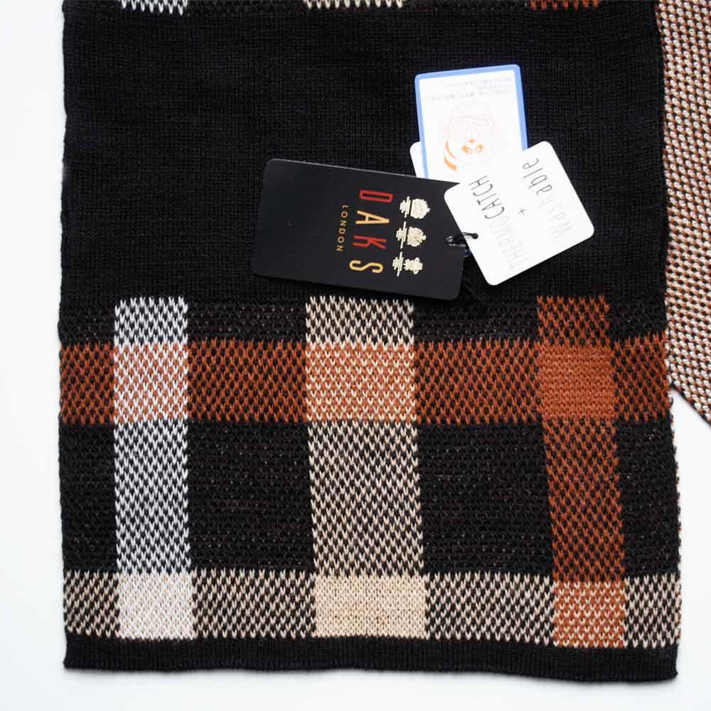 DAKS ダックス マフラー ショートマフラー 差し込み式 ブラック ブラウン チェック柄 手洗いOKPXkiuZ