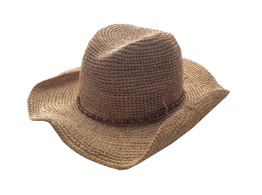 HAT attack ハットアタック 夏用カウボーイハット ハットアタック カウボーイハット ラフィアクロシェ /ウッドビーズ リゾートスタイル