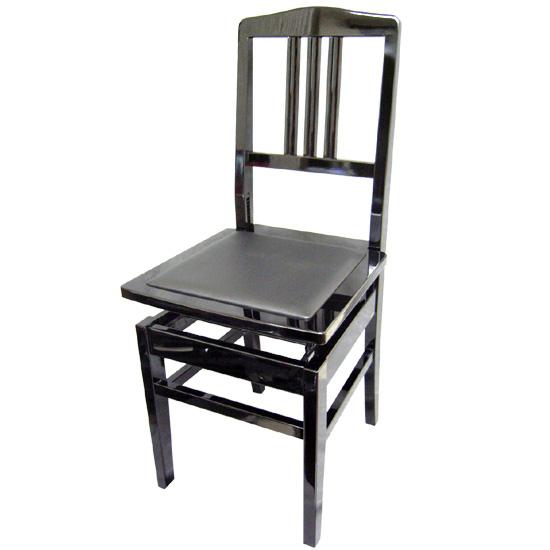 【送料無料】日本製:ピアノ椅子 背もたれ付きタイプ トムソン椅子:NO.5BLK(黒)-New【ラッキーシール対応】