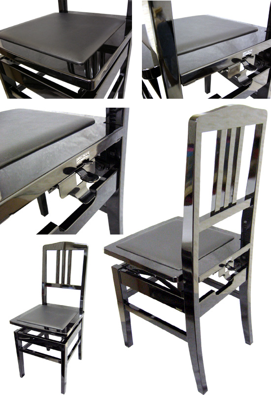 Made In Japan: Piano Chair With Backrest Type Thomson Chair :NO.5BLK( Black  ) New