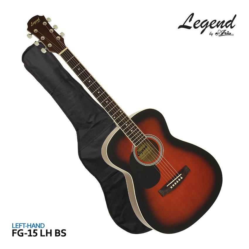 在庫あり【ケース付】Legend 左利き用アコースティックギター FG-15 L/H BS レフティ レジェンド フォークギター 入門 初心者 FG15