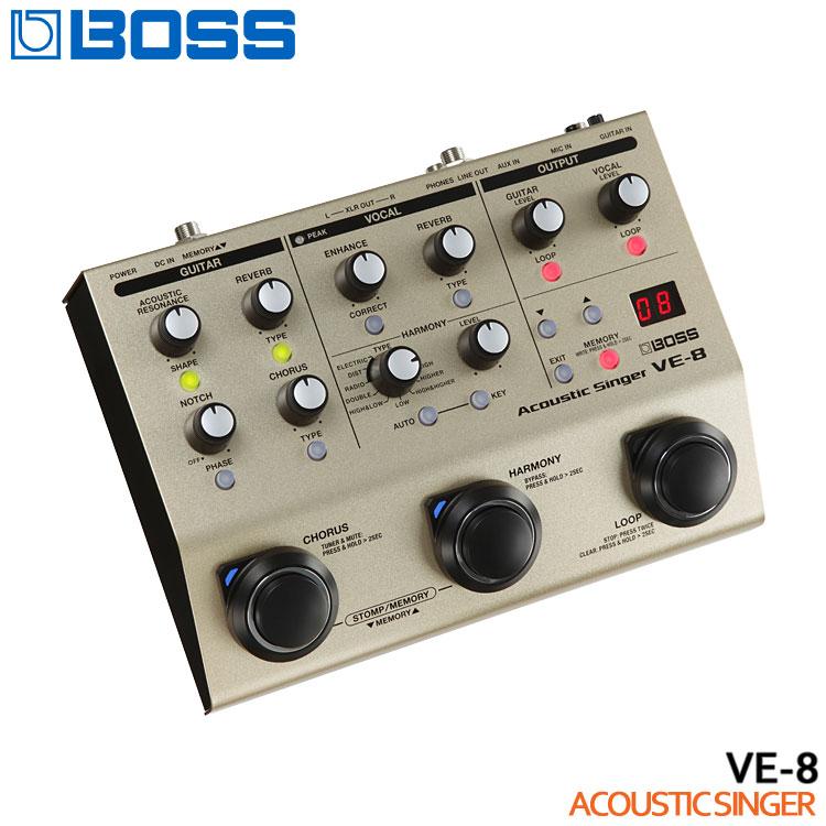 Acoustic Singer ポイント8倍 《週末限定タイムセール》 限定セール ギフ_包装 在庫あります 送料無料 アコースティックシンガー VE-8 ボスエフェクター 弾き語り用エフェクター BOSS