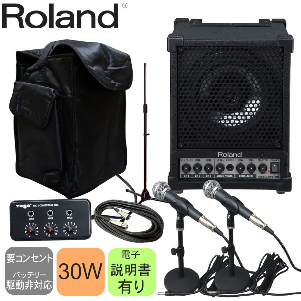 在庫あり【送料無料】ローランド Roland 出力30Wモニタースピーカー(有線マイク2本・ソフトケース付きセット)
