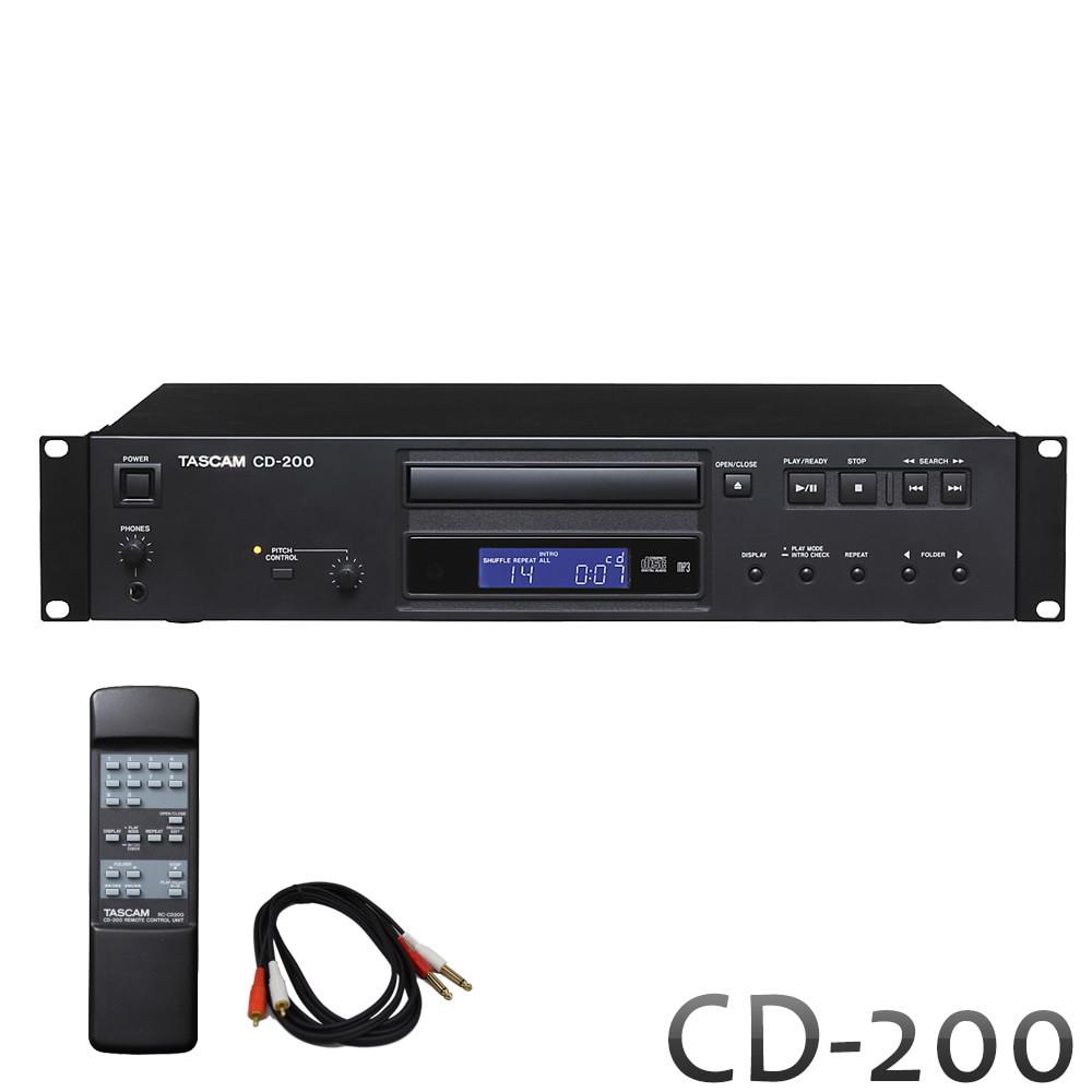業務用 CDプレイヤー TASCAM(タスカム) CD-200 【簡易PAセットのCD再生に最適なフォーンケーブル付き】