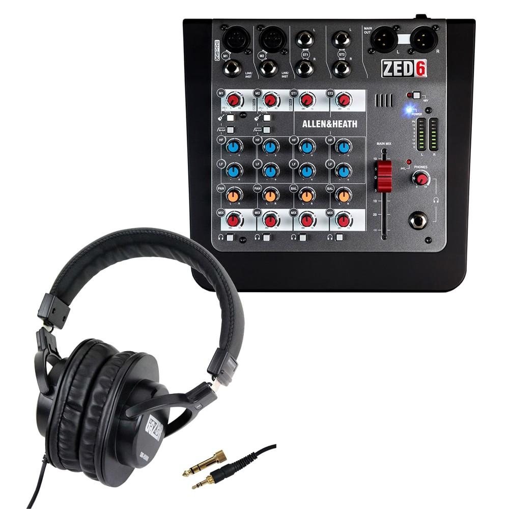 【送料無料】ALLEN&HEATH コンパクトアナログミキサー ZED-6 (ステレオヘッドフォン付き)