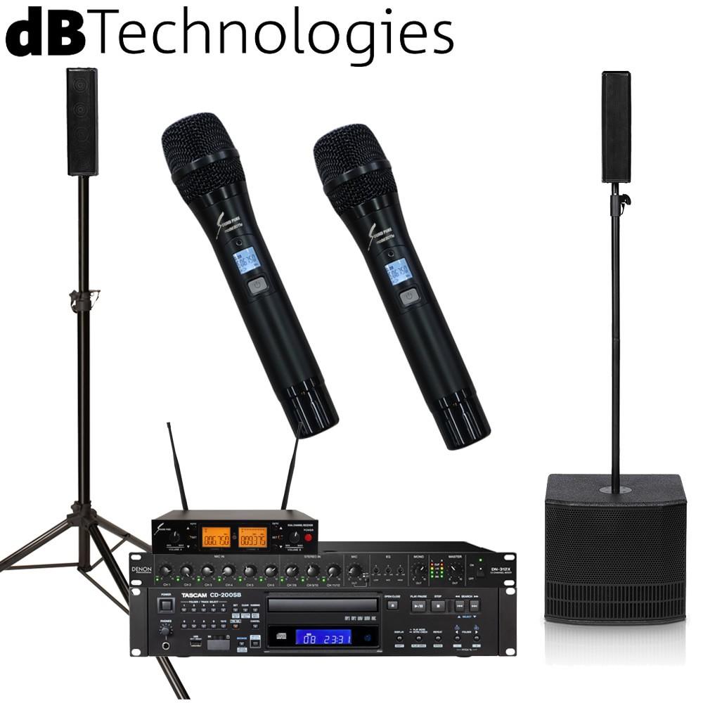 【送料無料】dBTechnologies 音響設備セット ES503 + CDプレイヤーとワイヤレスマイク2本、ラックミキサー付属