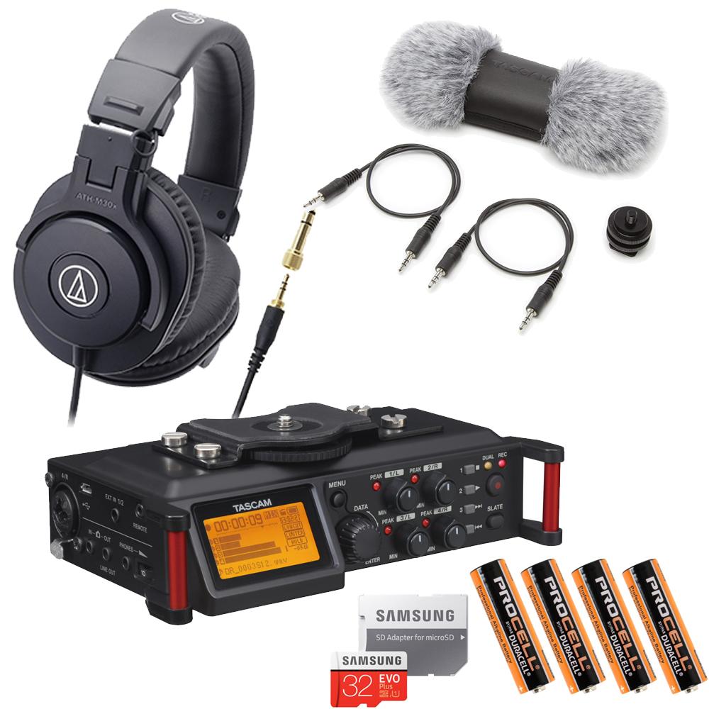 【送料無料】TASCAM レコーダー DR-70D (audio-technica モニターヘッドフォンセット)