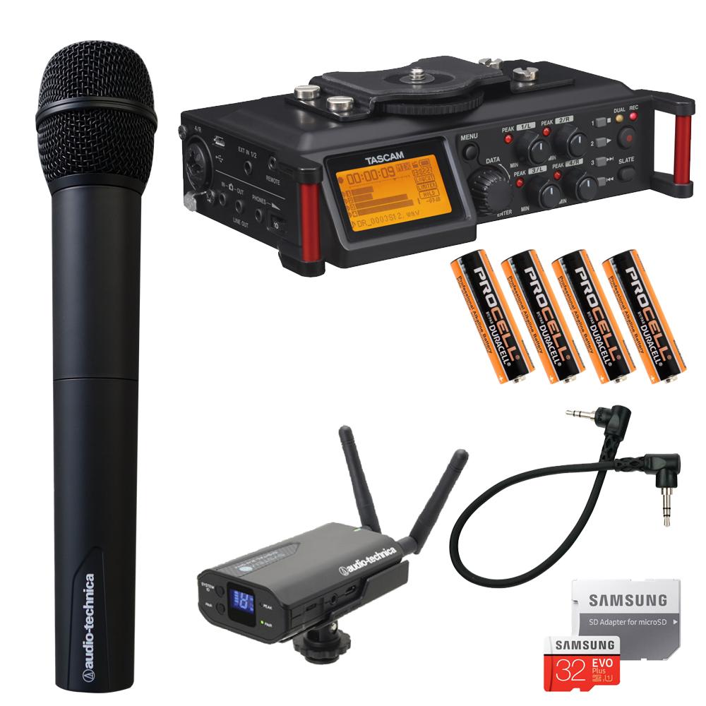 【送料無料】ワイヤレスマイク1本付き■TASCAM カメラ用レコーダー DR-70D (充電対応ワイヤレス受信機セット)