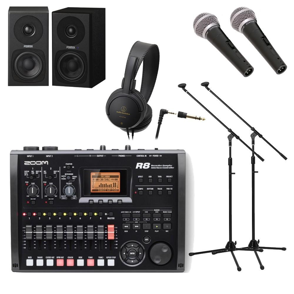 【送料無料】ZOOM MTR R8 (スピーカー/マイク×2/スタンド×2/ヘッドホン付き録音セット) マルチトラックレコーダー