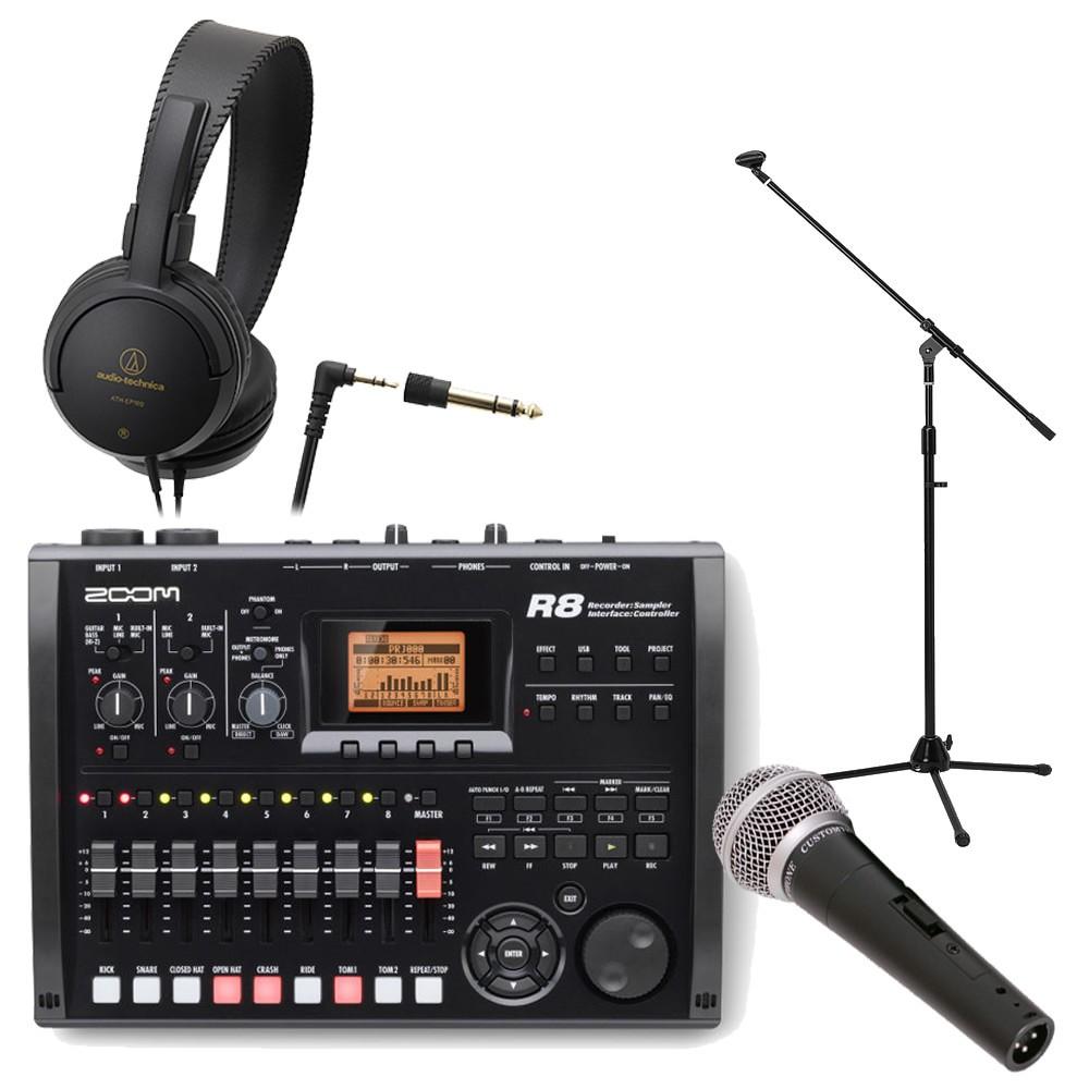 【送料無料】ZOOM MTR R8 (ヘッドフォン/ダイナミックマイク/スタンド付きセット) ズーム マルチトラックレコーダー