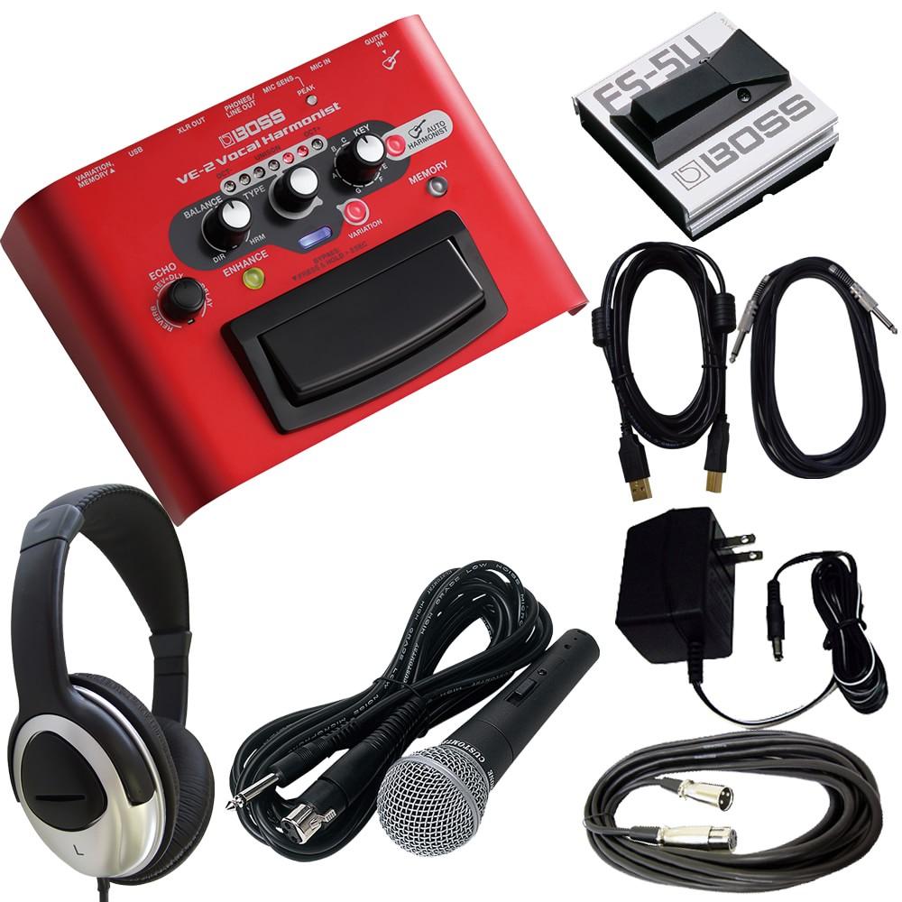 【送料無料】BOSS ボーカルエフェクター VE-2 (汎用ACアダプター/フットスイッチ/マイク/USBケーブル/ヘッドホン付きセット)