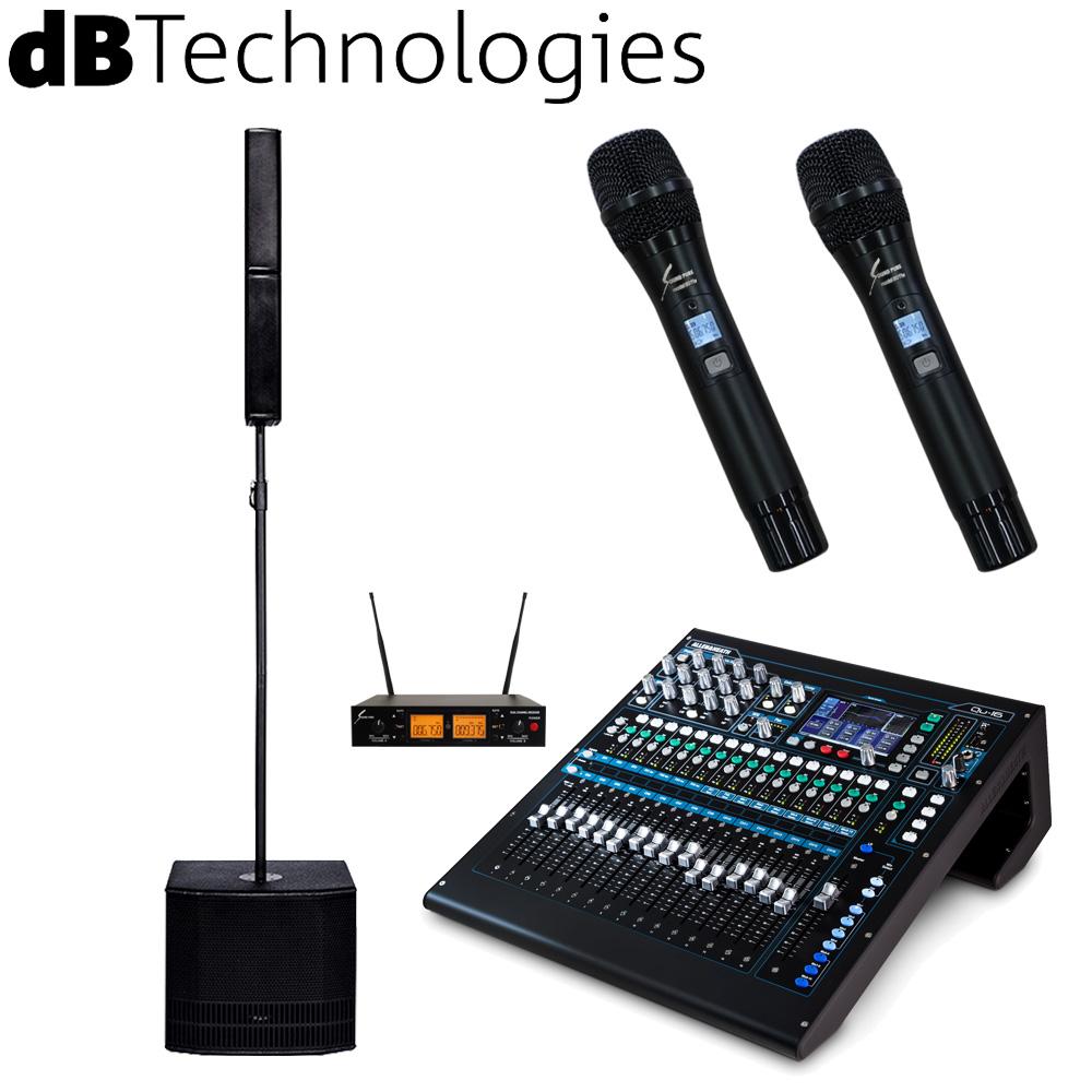 【送料無料】ワイヤレスマイク2本付き PAセット dBTechnologies コラムスピーカー ES802 + Allen & Heath Qu16セット